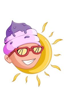 Fresh ice boy in hot summer cartoon illustration Premium Vector