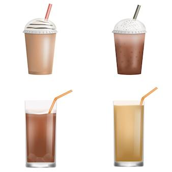 신선한 아이스 커피 아이콘 세트입니다. 흰색 배경에 고립 된 웹 디자인을위한 신선한 아이스 커피 벡터 아이콘의 현실적인 세트