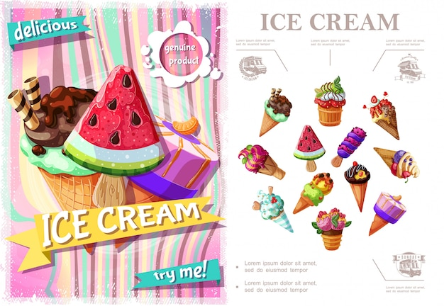 さまざまな種類のアイスクリームと漫画のスタイルで味の新鮮なアイスクリームのカラフルなコンセプト