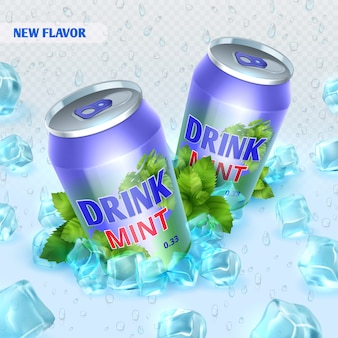 Fresh ice drink  background with ice cubes. drink mint in ice crystal cube illustration