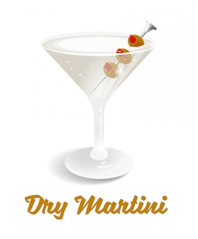 Fresh ice frozen alcoholic drink bar cocktails dry martini. this classic is made from gin and vermouth garnished with an olive or a lemon twist.
