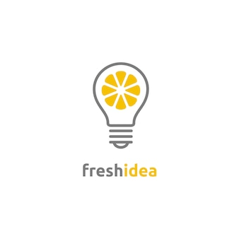 Лампочка и ломтик лимона логотип fresh idea