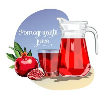 Fresh juice background with pomegranates