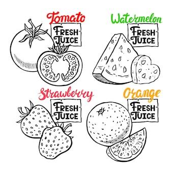 Свежий сок. красивый набор свежих фруктов и ягод. рисованная иллюстрация