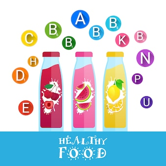Fresh juice bottles logos with set of vitamins isolated natural food farm products concept