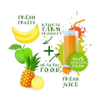 Fresh juice cocktail fruit mix logo natural food farm products label