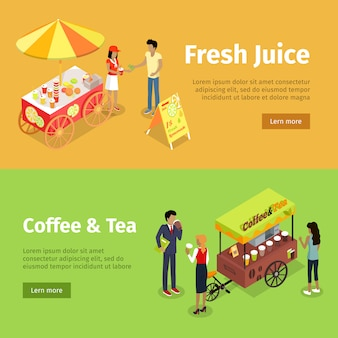 Fresh juice and coffee tea umbrella carts banner set
