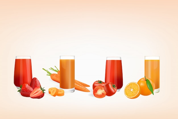 Fresh juice from fruits and vegetables
