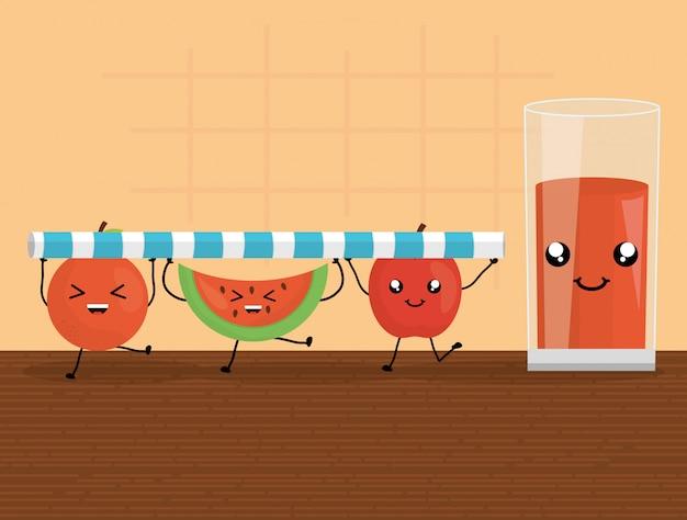 Fresh juice fruits in glass kawaii characters