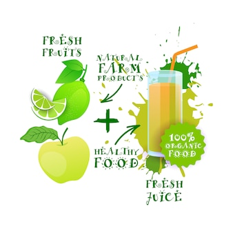 Fresh juice healthy cocktail apple and lime logo natural food farm products label