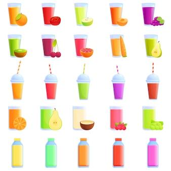 Fresh juice icons set, cartoon style