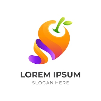 フレッシュ ジュースのロゴ、ジュースとマンゴー、3 d のカラフルなスタイルの組み合わせのロゴ Premiumベクター