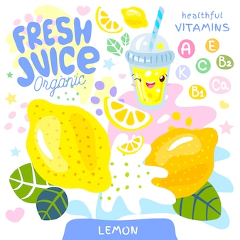 Fresh juice organic glass cute kawaii character. abstract juicy splash fruit vitamin funny kids style. lemon citrus tropical exotic yogurt smoothies cup.   illustration.