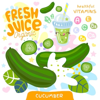 Fresh juice organic glass cute kawaii character. abstract juicy splash vegetables vitamin funny kids style. cucumber vegetable green smoothies cup.   illustration.