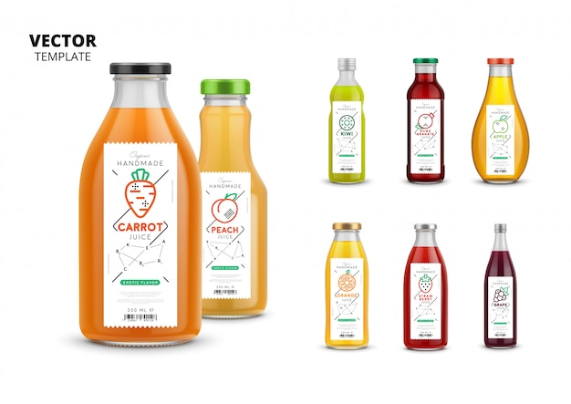 Fresh juice  packaging mockup set