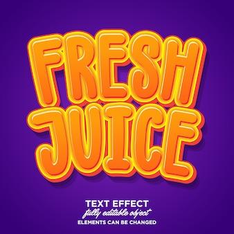 Fresh juice sticker playful cartoon font effect