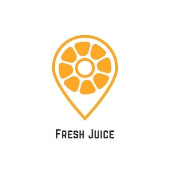 マップピンのようなオレンジのフレッシュジュース。栄養、クエン酸、ポインター、検索、検索バー、鮮度、カフェスポットの概念。白い背景で隔離。フラットスタイルのモダンなブランドデザインベクトルイラスト
