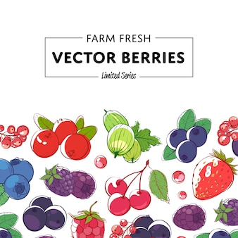 Fresh and juicy berries retail background
