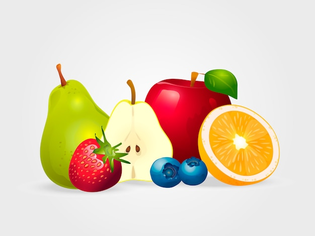 Fresh juicy fruit and berries isolated on white background.