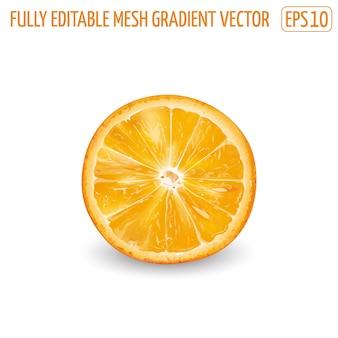 Свежий сочный апельсин - дизайн здорового питания. реалистичная иллюстрация.