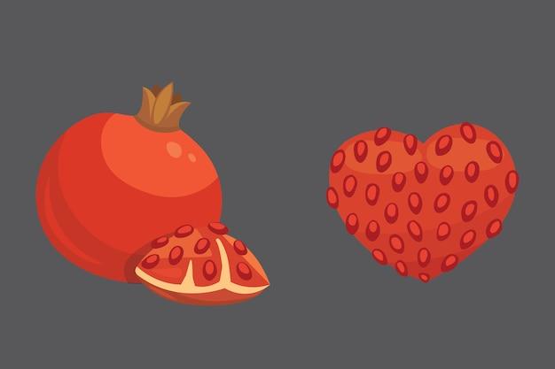新鮮なジューシーな熟したザクロの果実と葉のイラスト