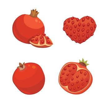 Свежие сочные спелые плоды граната с листьями иллюстрации