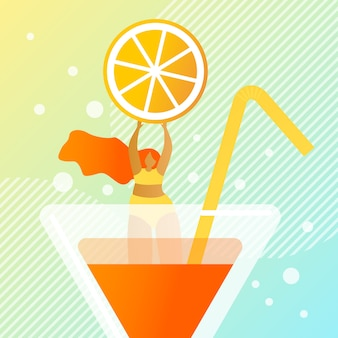 Fresh juicy summer cocktail  illustration.