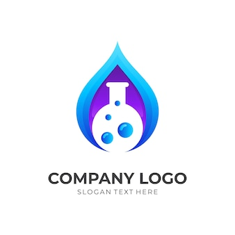 Fresh lab logo, water and bottle, combination logo with 3d blue and purple color style