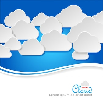 Fresh label sticker material clouds background vector set