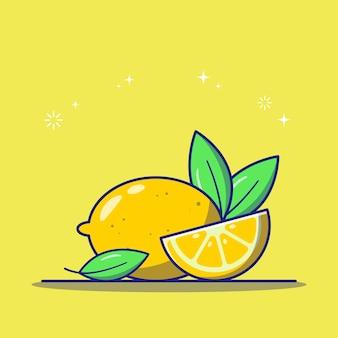 Свежий лимон и сочные желтые спелые ломтики лимона с листьями плоский значок иллюстрации