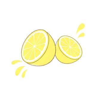 신선한 레몬 조각으로 잘라. 귀엽고 심플한 아트 스타일. 흰색 배경에.