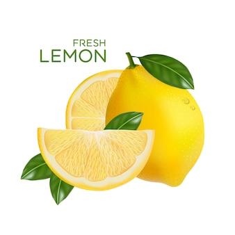 Свежие фрукты лимона, изолированные в плоском дизайне