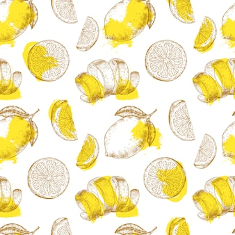 Fresh lemon fruits pattern
