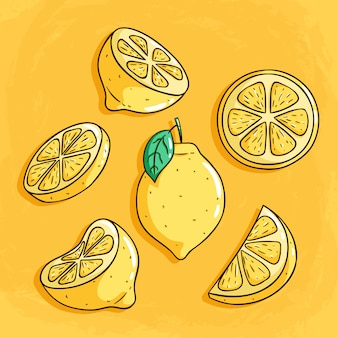 Fresh lemon fruits with cute colored doodle style