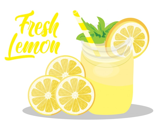 Fresh lemon juice vector isolated on white