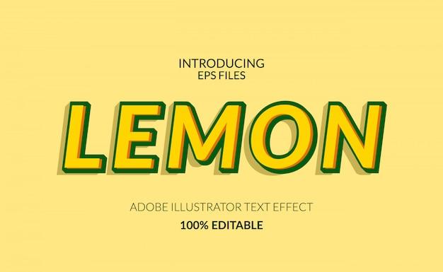 Свежий лимонно-желтого цвета. редактируемый текст и эффект шрифта. подходит для сока или летнего мероприятия