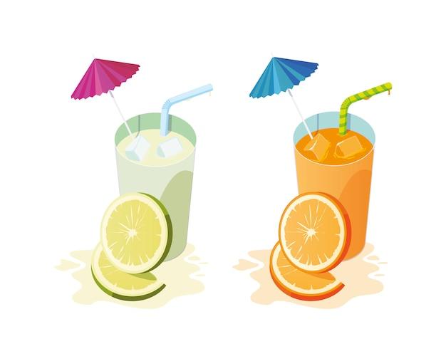 Fresh lemon and orange juice fruits cocktails
