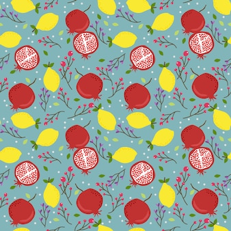 Fresh lemon and pomegranate seamless pattern.