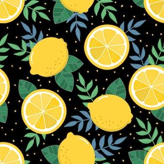Fresh lemon sliced and leaves seamless pattern