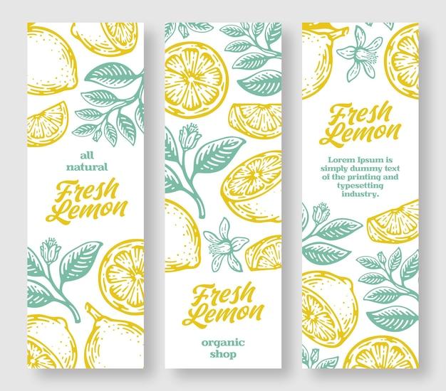 フレッシュレモン縦バナーコレクション。レモン手描き。