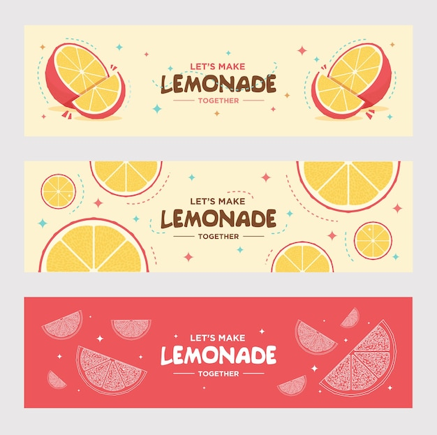 Set di banner di limonata fresca. arancia, limone, bevanda