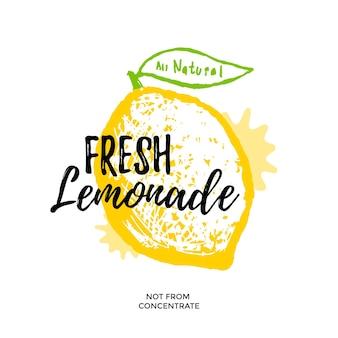 Fresh lemonade illustration for poster or package design. vector stylized lemon