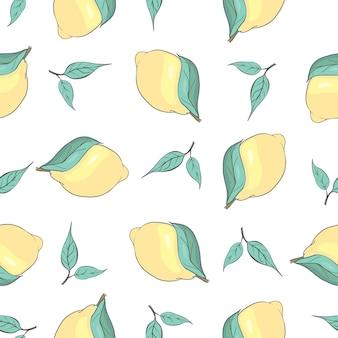 Фон свежие лимоны, рисованной иконки. красочные бесшовные модели