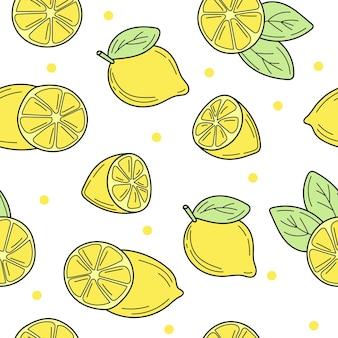 Фон свежие лимоны, рисованные значки. каракули бесшовные модели