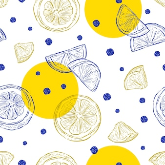 Fresh lemons background, hand drawn .