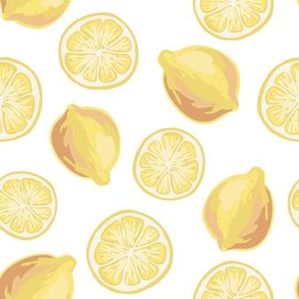 フラットスタイルのフレッシュレモン。シームレスパターン。手で書いた。