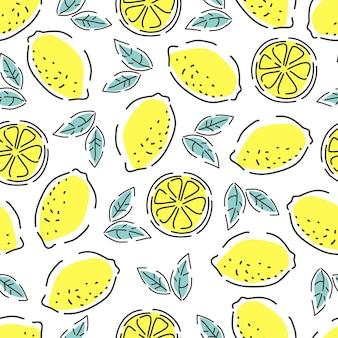 Свежие лимоны бесшовные модели. контурный стиль. рисованный фон.