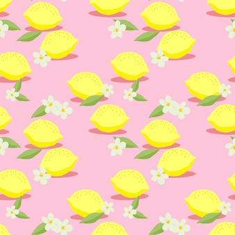 Fresh lemons seamless pattern vector. hand drawn of colorful citrus fruit. summer fruit concept.
