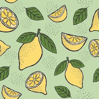 新鮮なレモンのシームレスなパターン。
