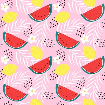 Fresh lemons and watermelon seamless pattern vector. hand drawn of colorful citrus fruit. summer fruit concept.